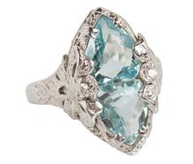 Fancy Aquamarines in a Vintage Ring