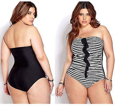 White Strapless Plus Size Swimwear