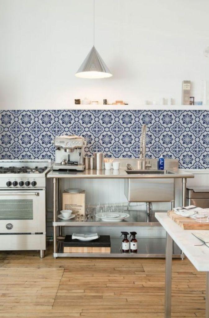Stylish Blue Printed Backsplash Tiles With Bamboo Floor For