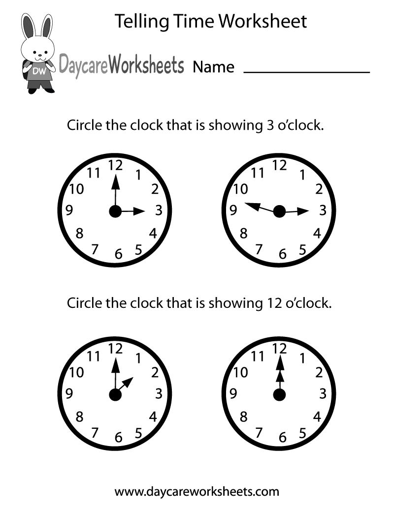 Preschoolers have to circle the clocks that are showing the correct hours  in this free telling ti…   Time worksheets [ 1035 x 800 Pixel ]