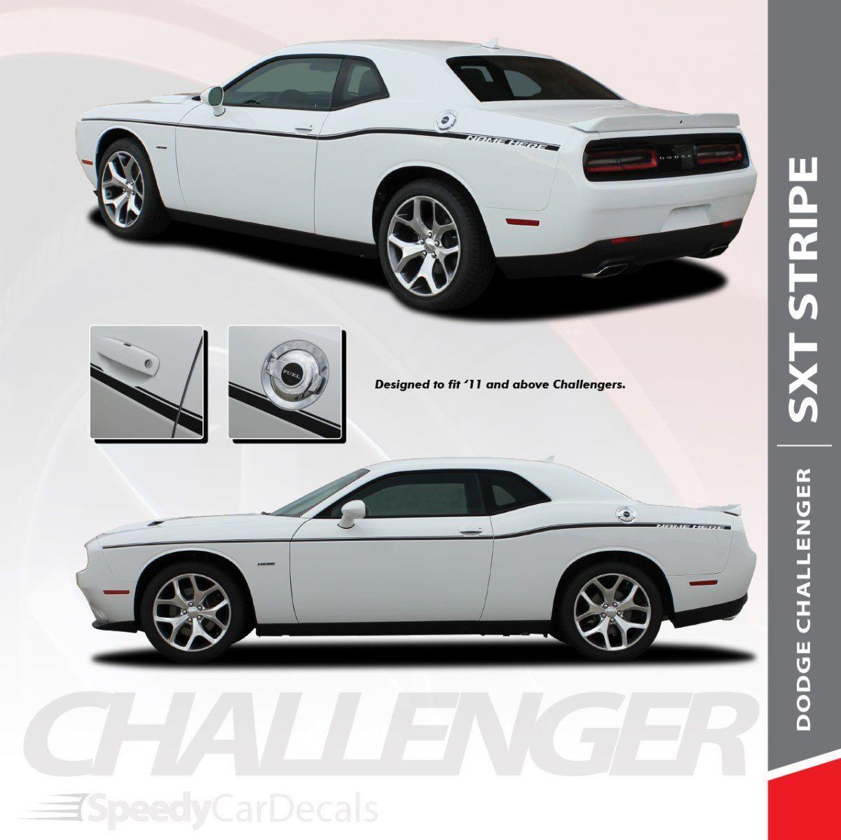 SXTDodge Challenger Graphics Kit Side Stripe Decals 2011-2018 3M Wet Install