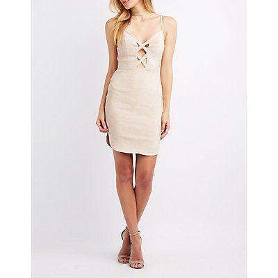 7a5c03cabc Nude Faux Suede Lattice-Front Bodycon Dress - Size S