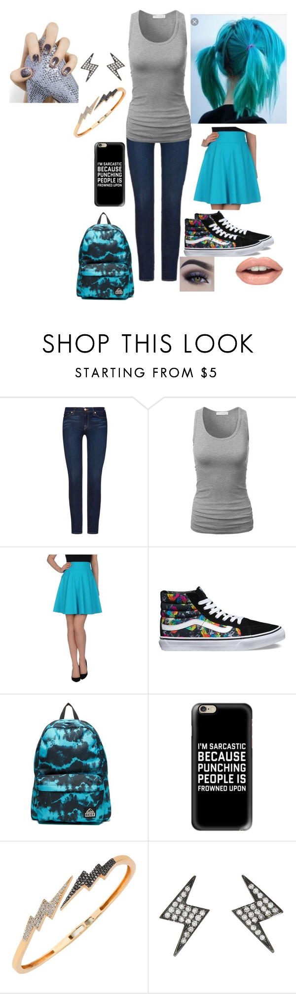 """Bruno Ritter (solar) causal"" by racheljohnson1226 ❤ liked on Polyvore featuring 7 For All Mankind, Christies à Porter, Vans, Reef, Casetify, Bee Goddess, Shay and Essie"