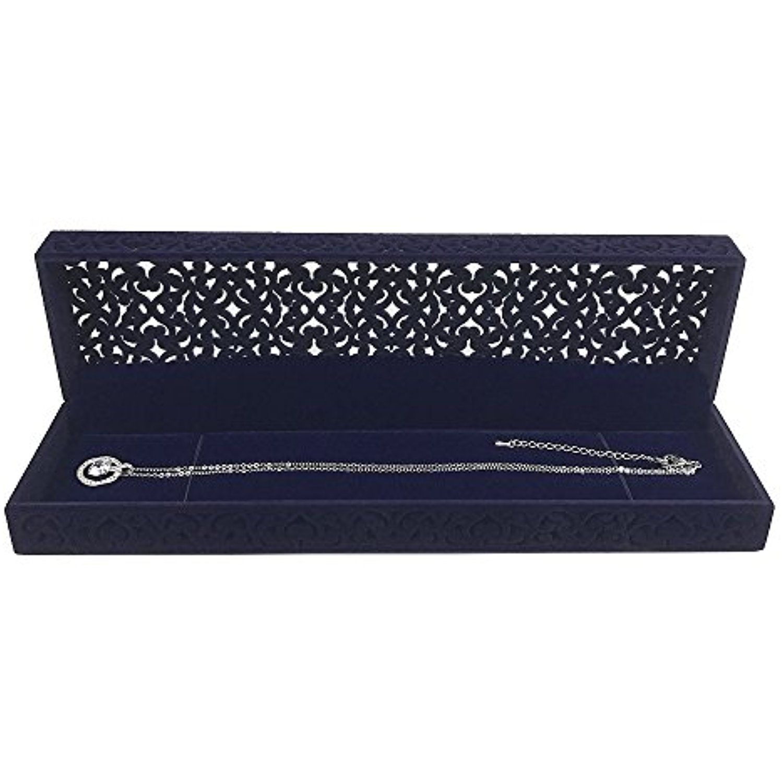 Hollow Sapphire Blue Velvet Necklace Box Long Chain Necklace