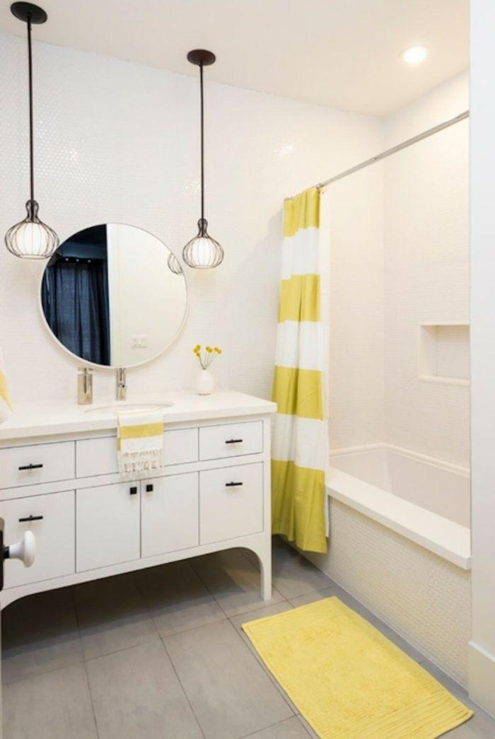 badezimmer gestalten badspiegel teppichläufer pendelleuchten, Badezimmer ideen