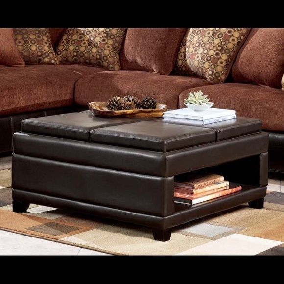 Ottoman Brand New In Good Condition Black Leather Ottoman For Remov Leather Ottoman Coffee Table Upholstered Coffee Tables Large Ottoman Coffee Table