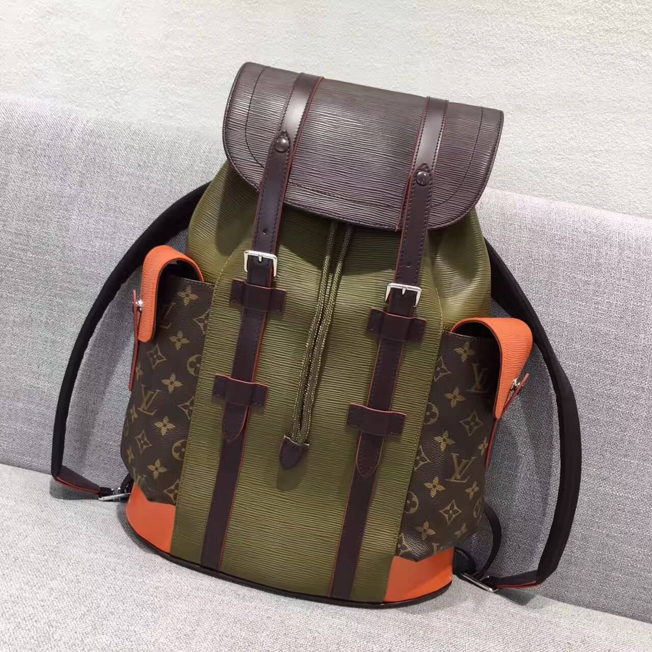 09f64218ce22 Louis Vuitton x Supreme Epi Leather and Monogram Canvas Christopher PM  Backpack Green Orange 2017