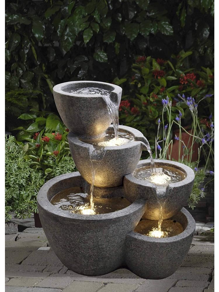 Cascading LED Water Feature Indoor Outdoor Self Contained Tiered Bowl Garden New