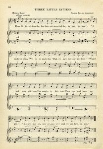 Free Vintage Image Three Little Kittens Sheet Music Sheet
