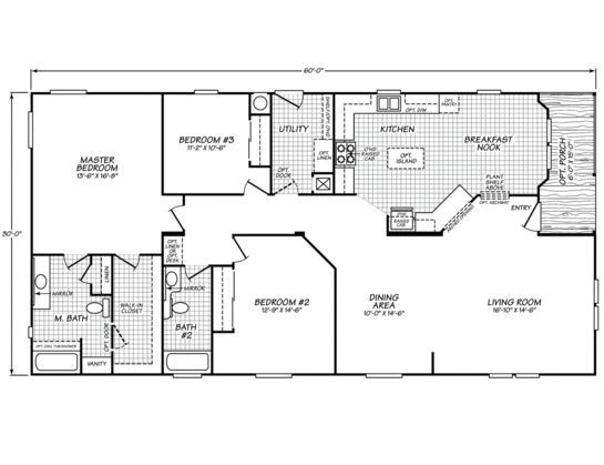 Like this floor plan for a 30x60 size. | Homes in 2019 | Modular home floor plans, Mobile home ...