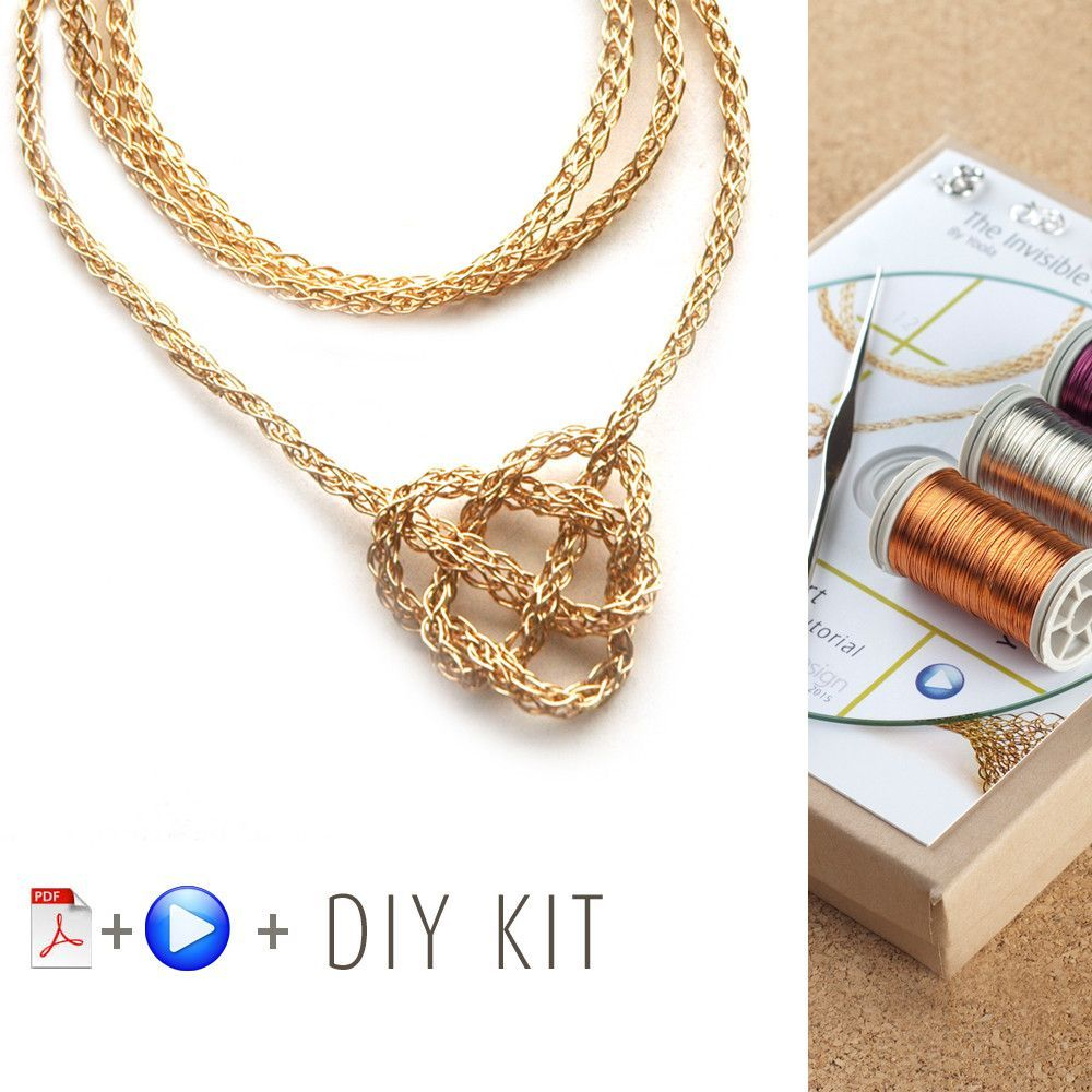 How to wire crochet a celtic heart necklace - DIY kit | How to Make ...