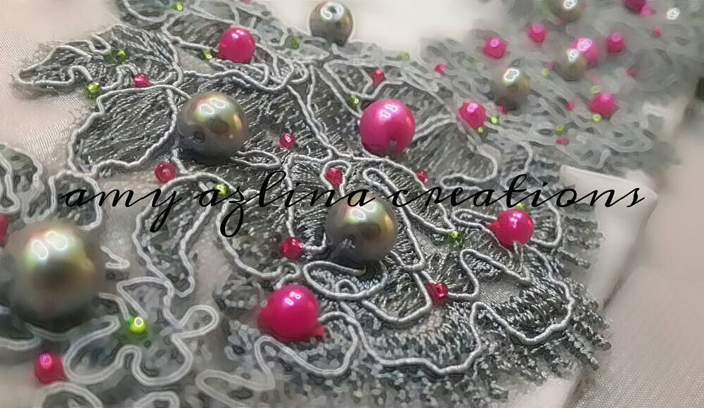 Simple beading on lace..... by amy_azlinacreations
