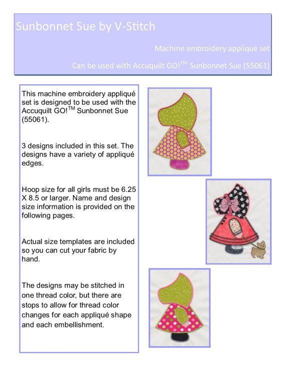 Sunbonnet Sue applique machine embroidery set. Instant download now ...