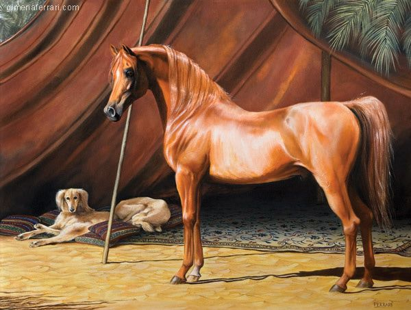 Oil Painting Of Arabian Chesnut Horse Standing In Front Of A