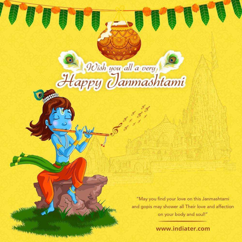 happy janmashtami indian festival celebrating birth of