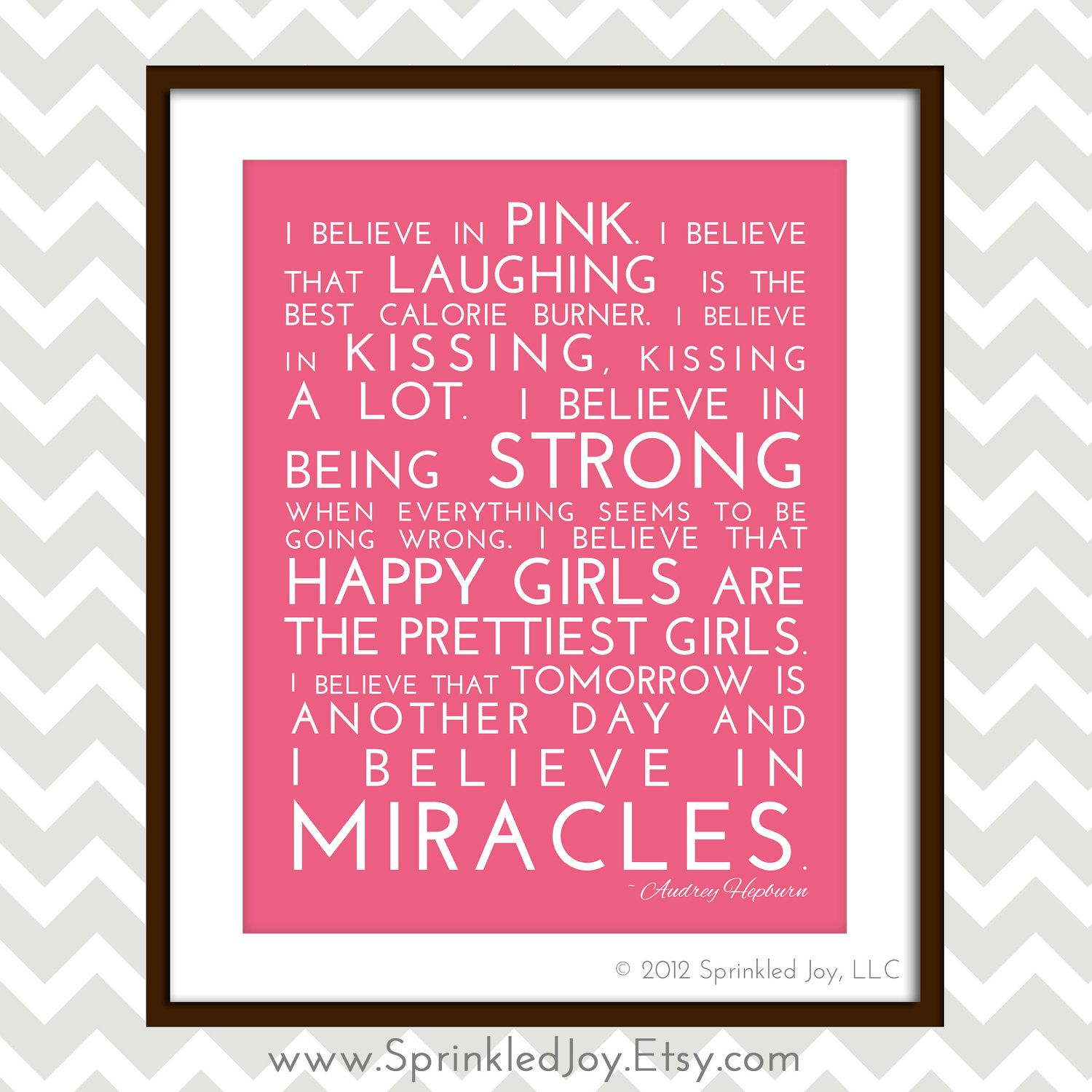 Breast Cancer Inspirational Quotes I Believe In Pink  Audrey Hepburn Inspirational Quote Modern