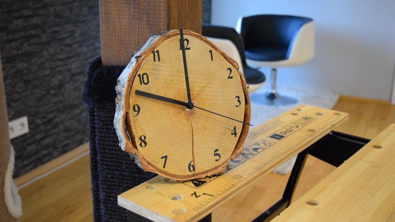 diy wood clock. uhr selber bauen. eine wanduhr aus holz selber