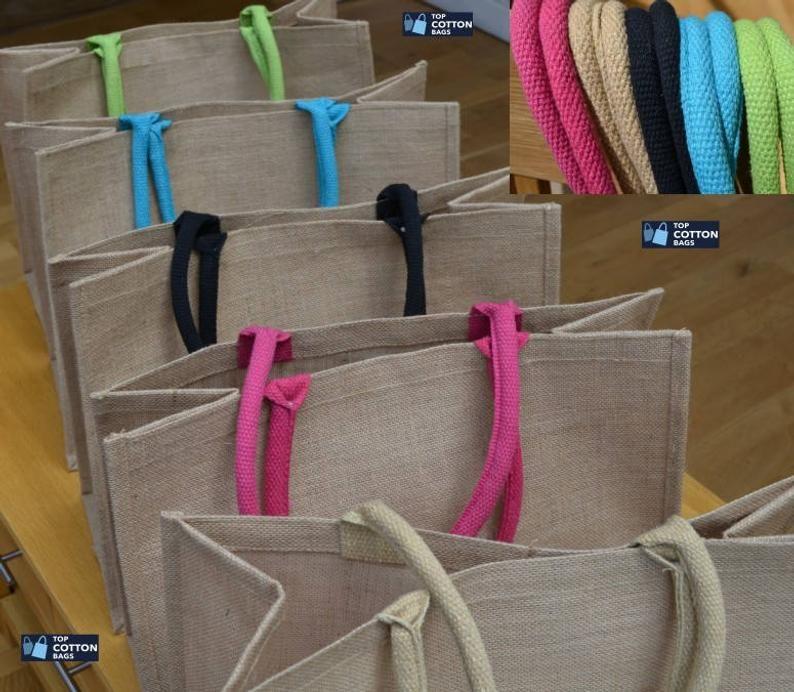 Bolsa de yute. Plain Jute Hessian Laminated Tote Large Shopping Shoulder Bag. 5 Colores. 100% impermeable (paquete de 5 )  – Bolsa