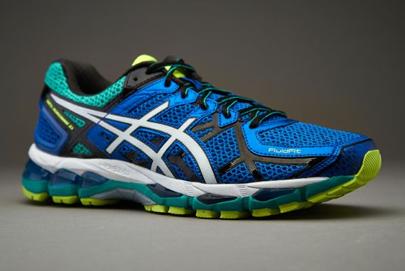 Asics Gel Kayano 21 Blue White Flash Yellow Running Shoes For