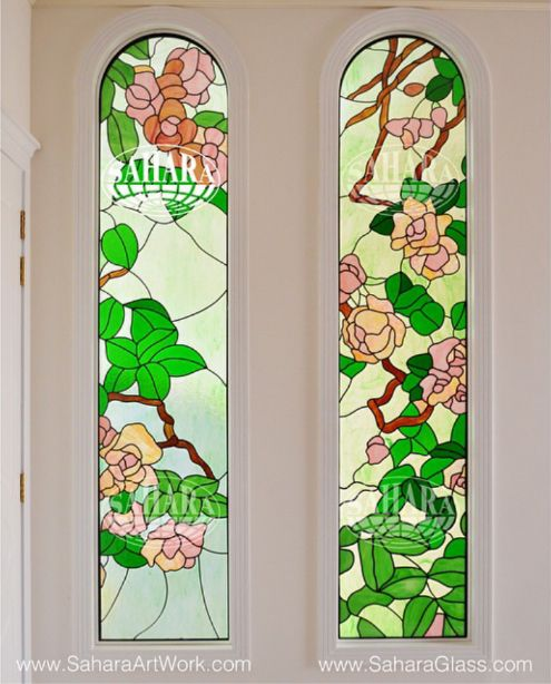 Two Stained Gl Window Inserts With Anese Fl Design