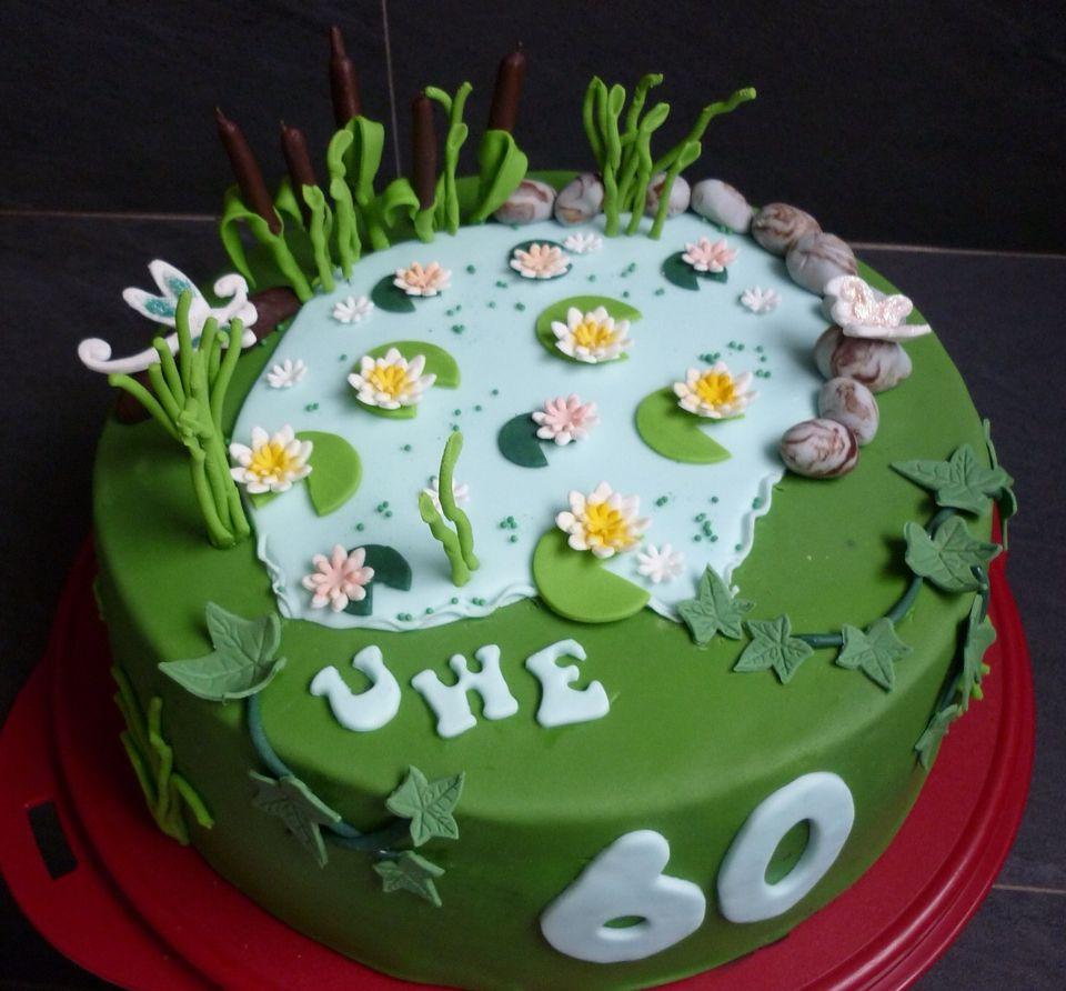 Ein Kleiner Teich Als Fondant Torte Zum 60 Geburtstag Ideen