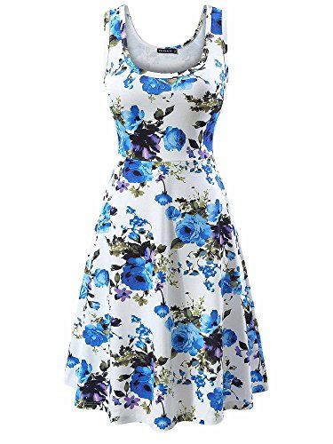 cdbe39813d54 FENSACE Women's Sleeveless Scoop Neck Summer Beach Midi Flared Tank Dress (X -Large, 17020-9)