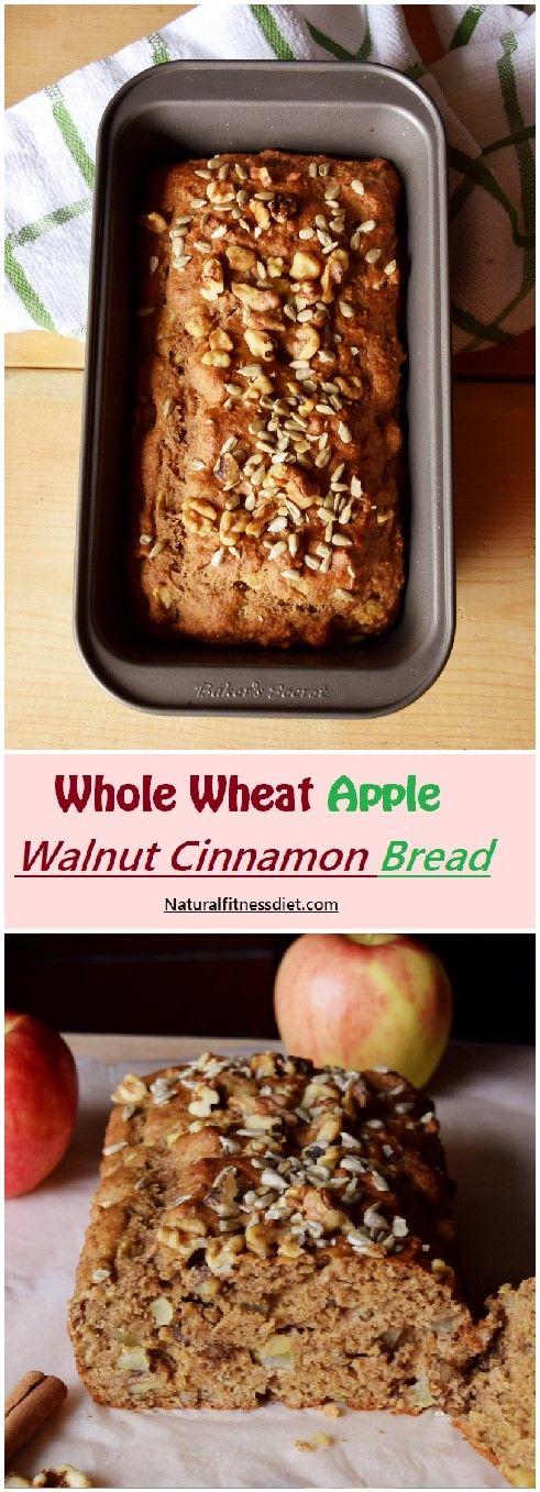 Healthy whole wheat apple walnut cinnamon bread full of fall flavors and healthy ingredients. Serve it for breakfast or brunch. #apple #walnut #cinnamon #healthy #bread