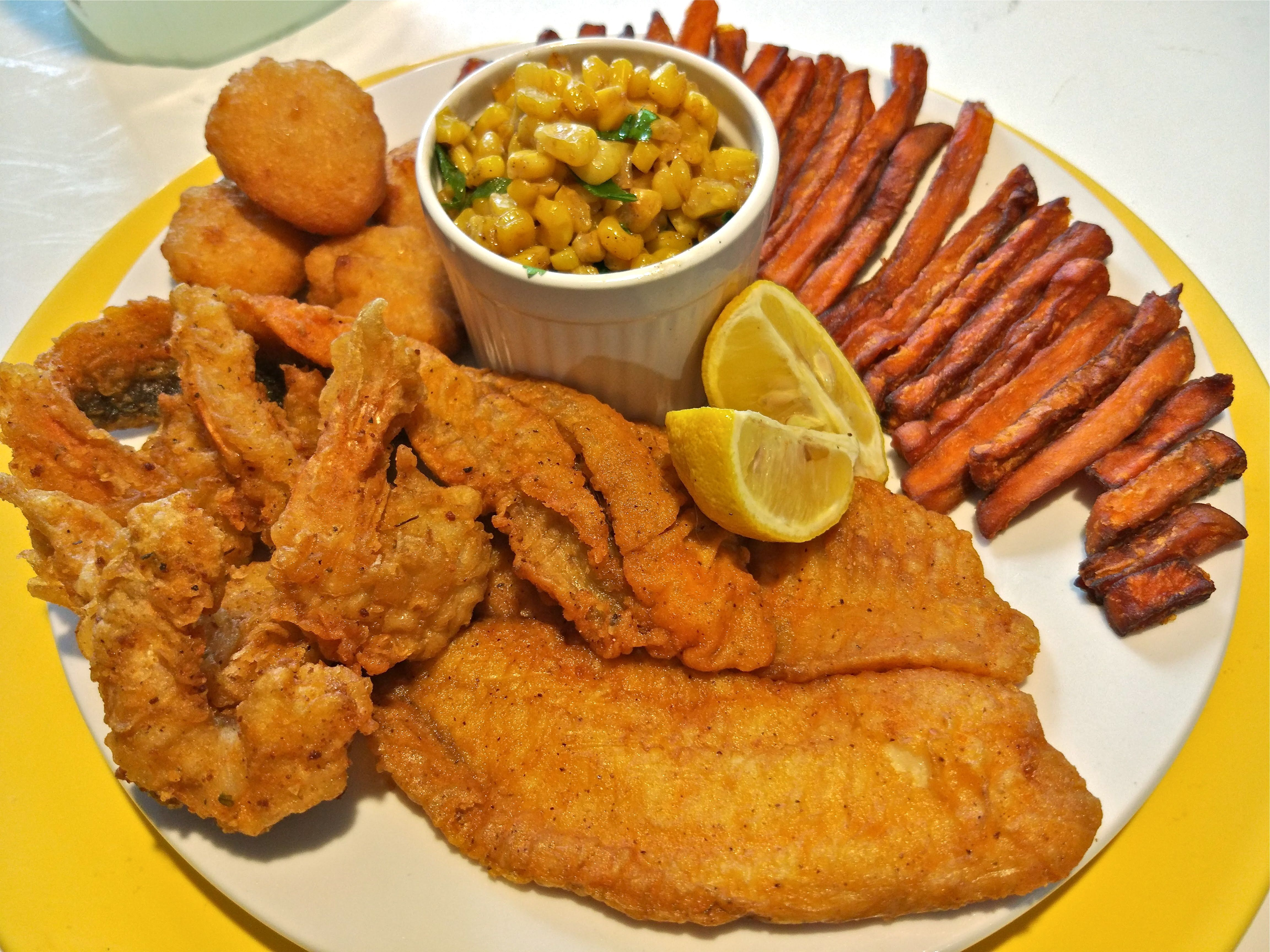 Fish fry fried fish fried shrimp sweet potato fires for Fried fish and shrimp