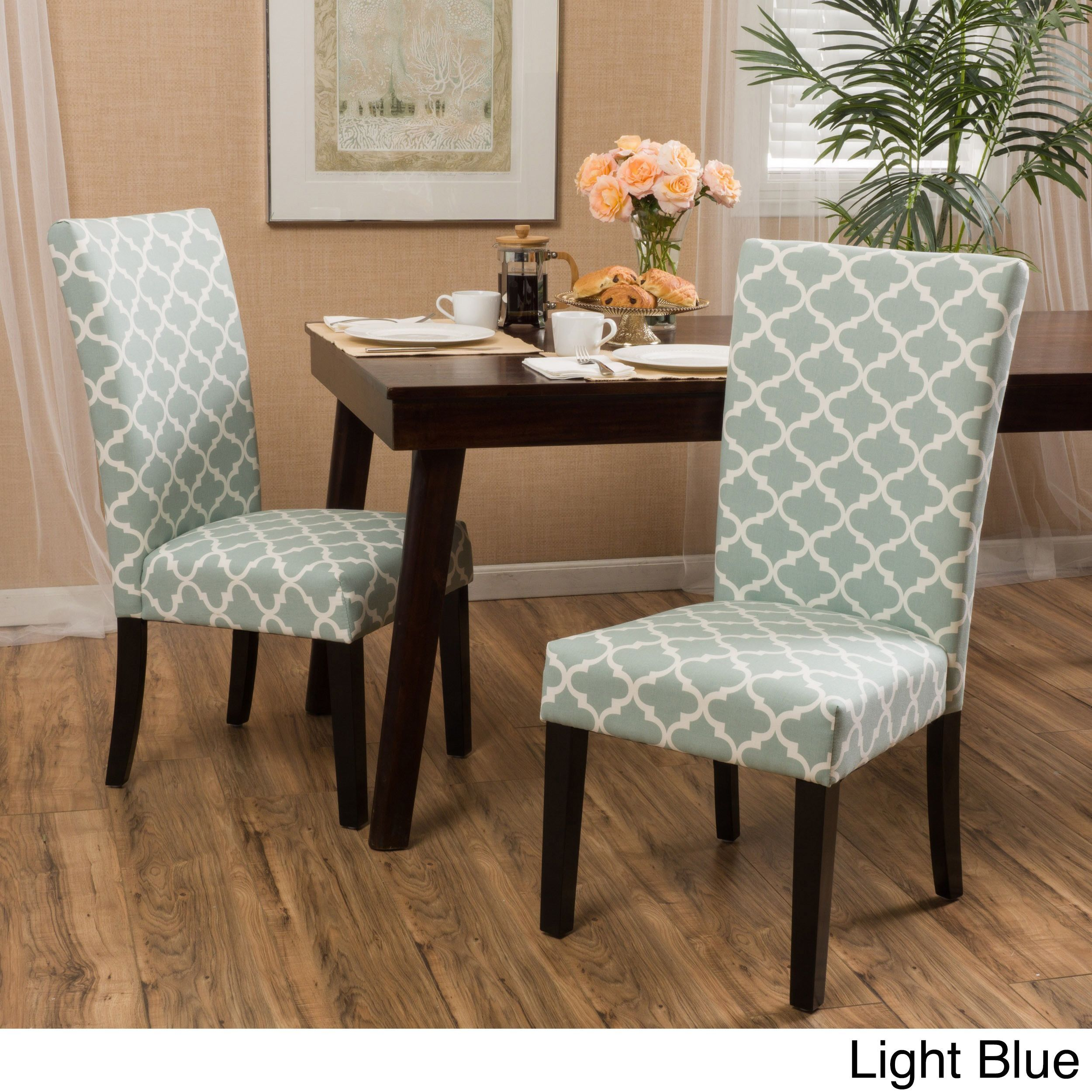 Delightful Aurora Fabric Geometric Print Dining Chair (Set Of 2) By Christopher Knight  Home (