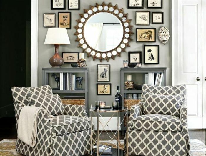 1 miroir decoratif mural mur avec decoration moderne