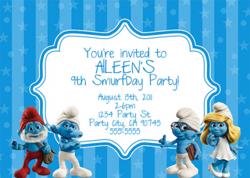 Smurfs Invitation Dominic S 1st Birthday Smurf Party Pinterest