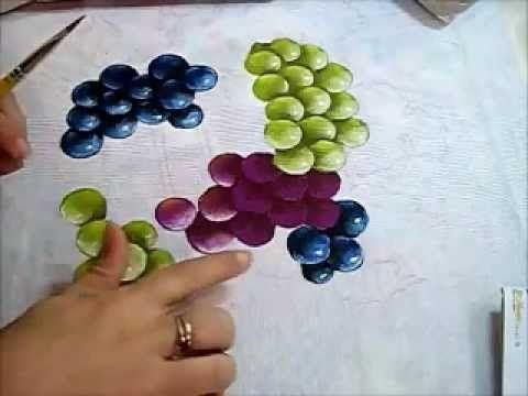 Uvas - Grapes - Pintura em Tecido pintura en tela Pinterest