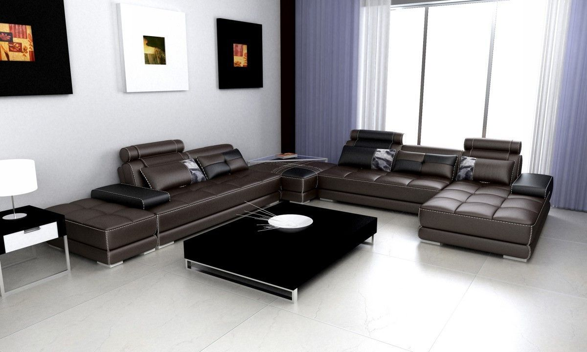 Divani Casa Phantom Modern Grey Bonded Leather Sectional Sofa W - End table for sectional sofa