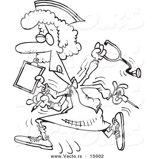 Vector of a Cartoon Multitasking Nurse - Coloring Page Outline by - fresh coloring pages about nurses