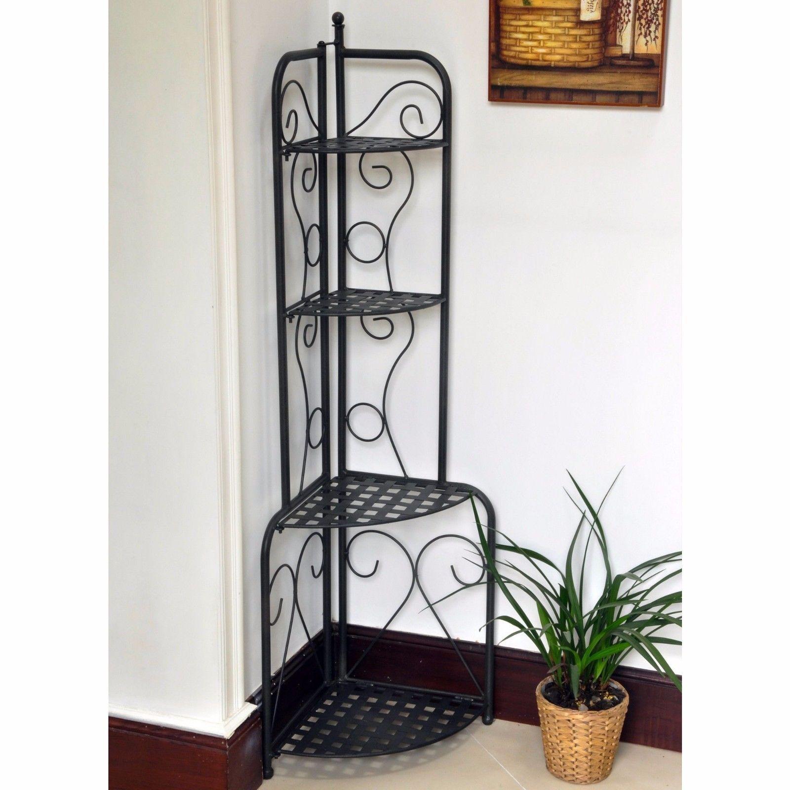 Wrought Iron Corner Shelf Black Folding In X2f Outdoor 4 Tier
