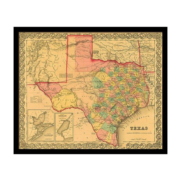 1855 Texas County Map By J H Colton Framed Print By Texas Map