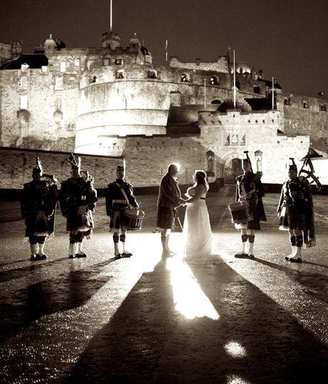 Wedding Reception Venue Hire Edinburgh Scotland: Edinburgh Castle Exterior With Bride And Groom