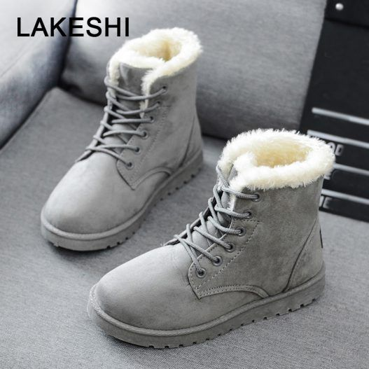 Warm Fashion Faux Suede Ankle Snow Boots - eFashionova #winterboots