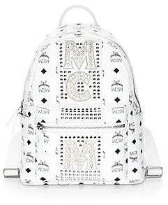 MCM Women's Stark Stud Stripe Coated Canvas Backpack | White