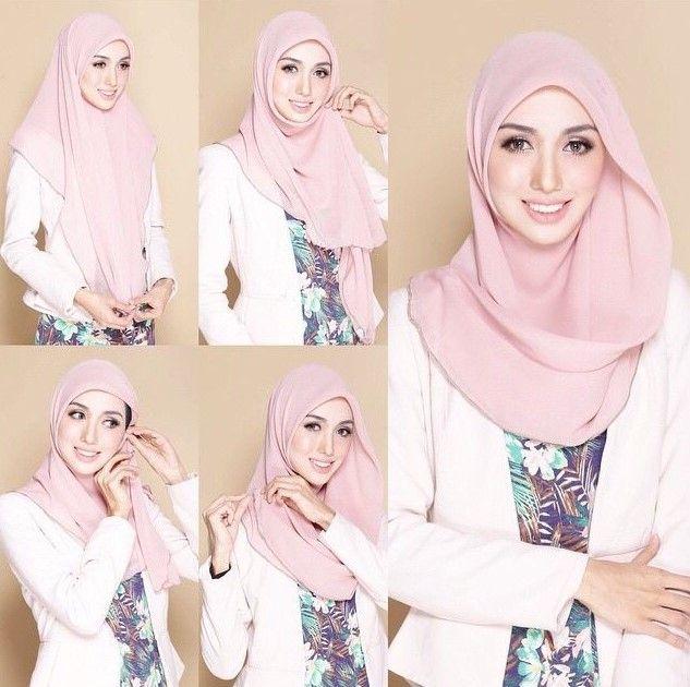 Tutorial Hijab Wisuda Segi Empat Satu Warna Simple Kerudung Gaun Hijab Hijab Chic