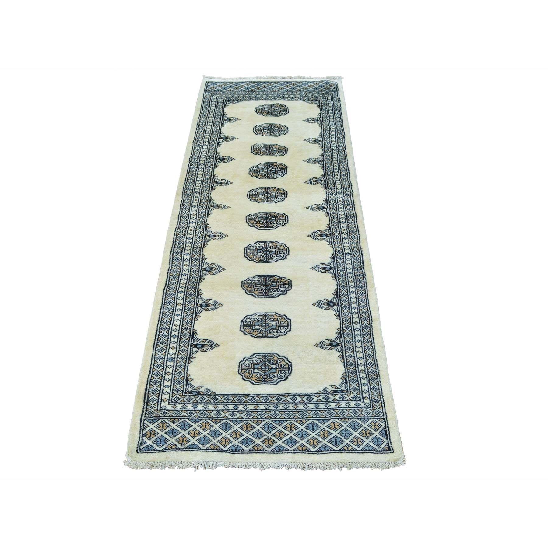 "1800getarug Elephant Feet Design Bokara Handmade Oriental Rug (2'1 x 5'7) (Exact Size: 2'1"" x 5'7""), Ivory, Size 2' x 6'"