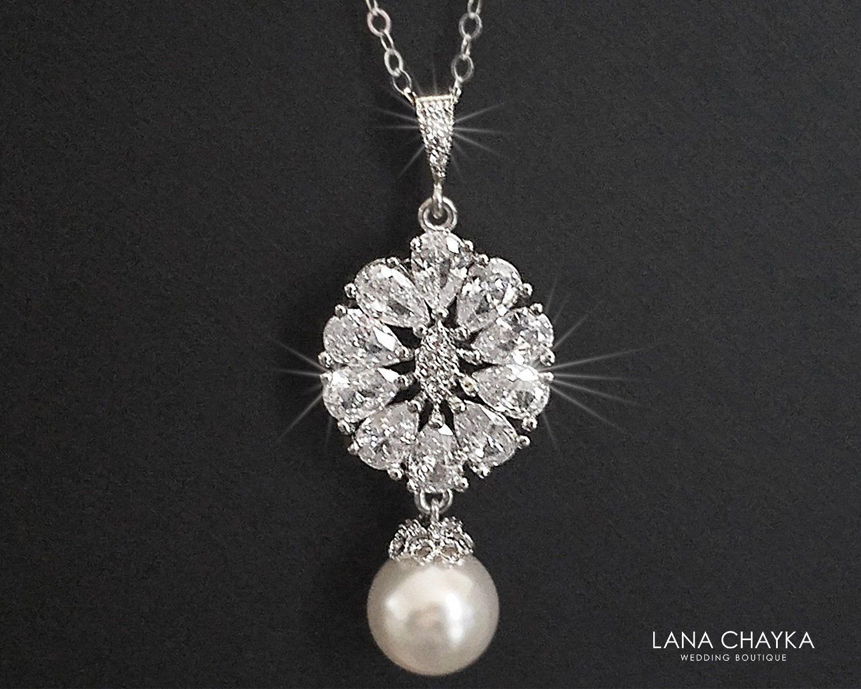 Pearl Bridal Bracelet, Swarovski White Pearl Cubic