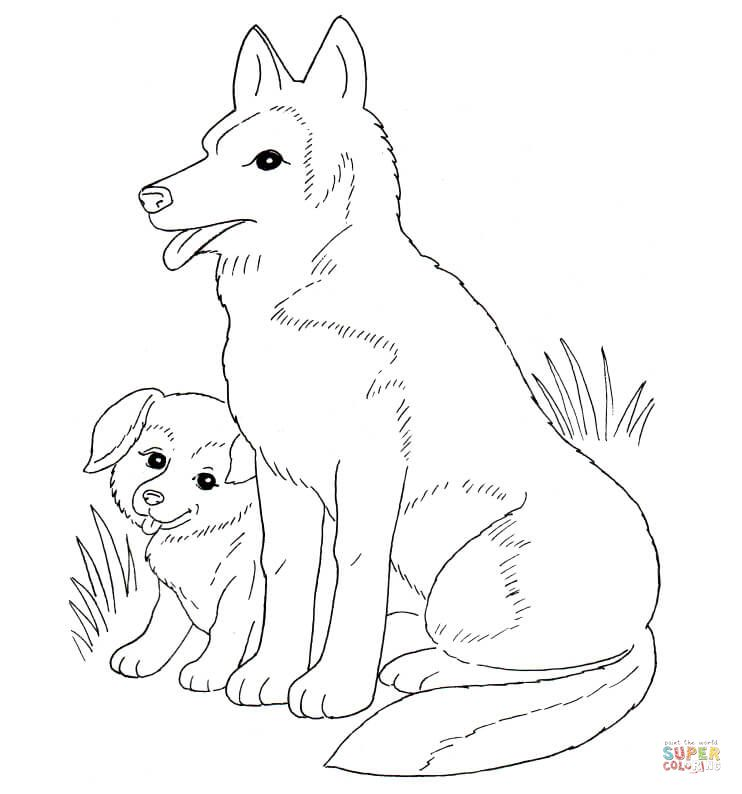 Dog Mother And Puppy   Dog coloring page, Puppy coloring ...