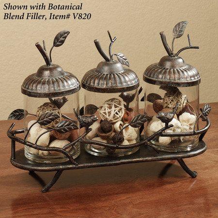 woodland song jar tray set aged gold set decorated jars cabin decor bath decor