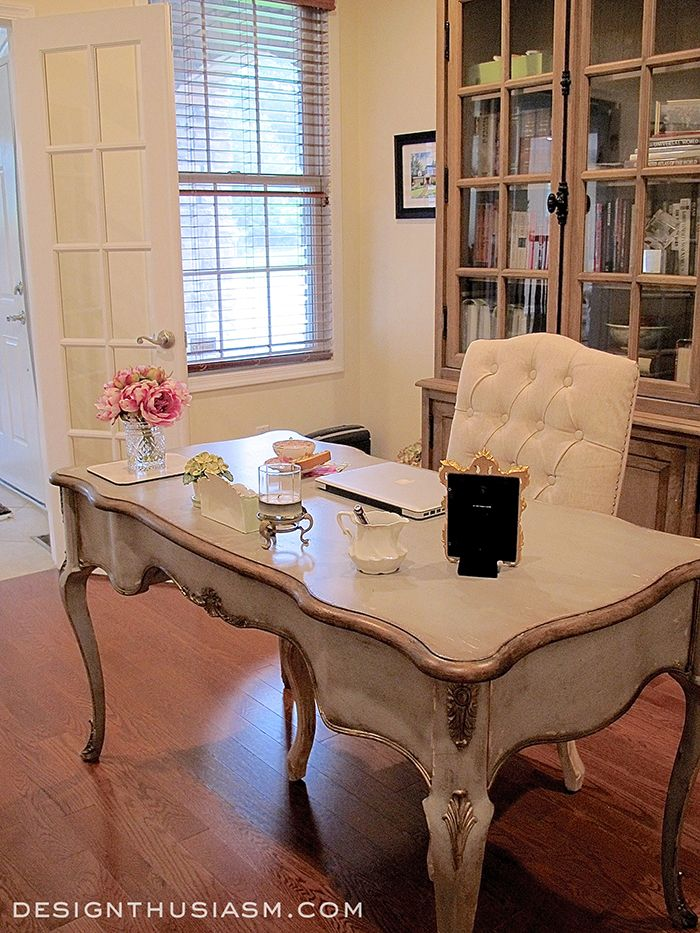 vintage style shabby chic office design. Second Room Reveal ~ A French Country Study Vintage Style Shabby Chic Office Design