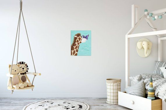 Giraffe nursery art, baby shower gifts, whimsical art, jungle nursery decor, jungle art, butterfly kisses