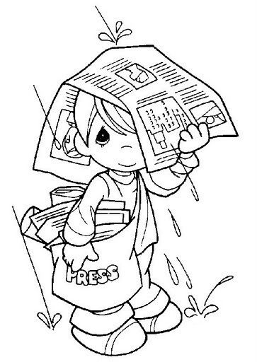 Newspaper Boy Precious Moments Coloring Pages Coloring Pages Bible Coloring Pages
