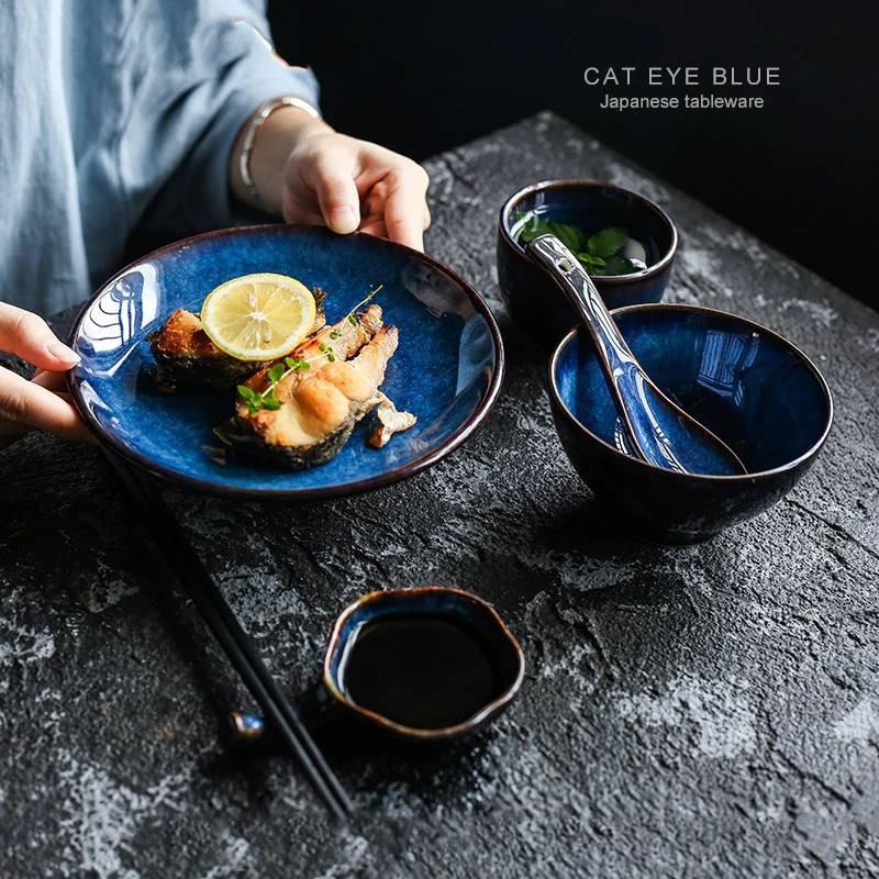 5pcs Per Set Deep Blue Ceramic Tableware 1 Person Dinner Set Plate Bowl Cup Sauce Dish Porcelain Tableware In 2020 Dinner Plate Sets Dinnerware Ceramic Dinnerware Set