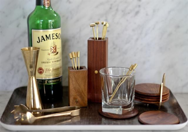 Brass and Wood Bar Accessories