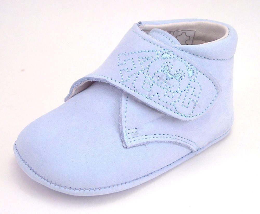 DE OSU Spain -Baby Boys/Girls Light Blue Nubuck Leather Crib Shoes PR-86 - Euro  #DeOsu #DressShoes